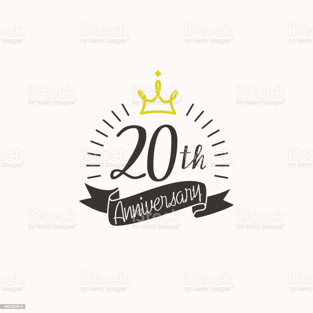 anniversary logo template with ribbon and crown 20th stock vector