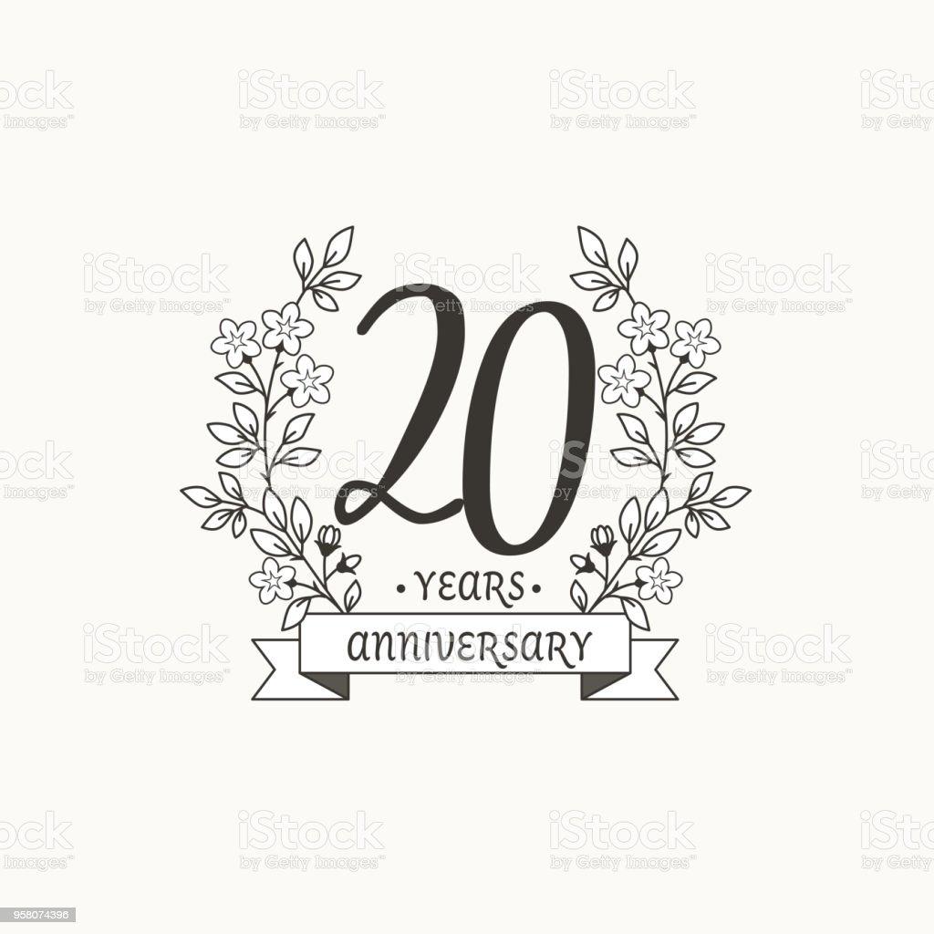 Modèle De Logo Anniversaire Avec Ruban Et Fleurs 20 Ans Vecteurs