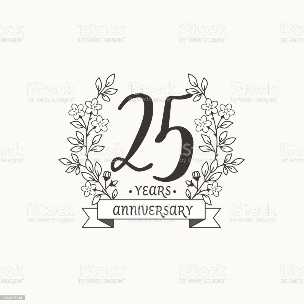 anniversary logo template with ribbon and flowers 25 years stock