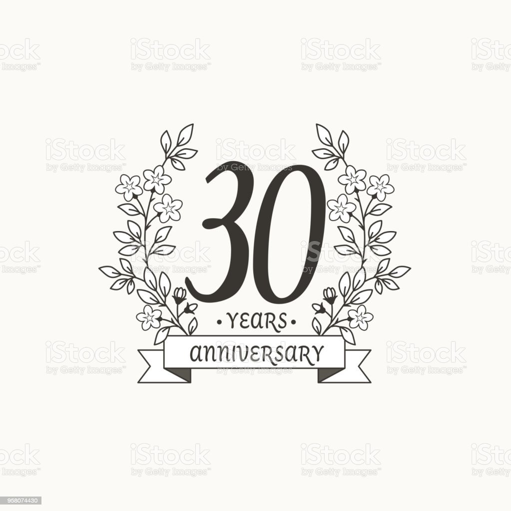 anniversary logo template with ribbon and flowers 30 years stock