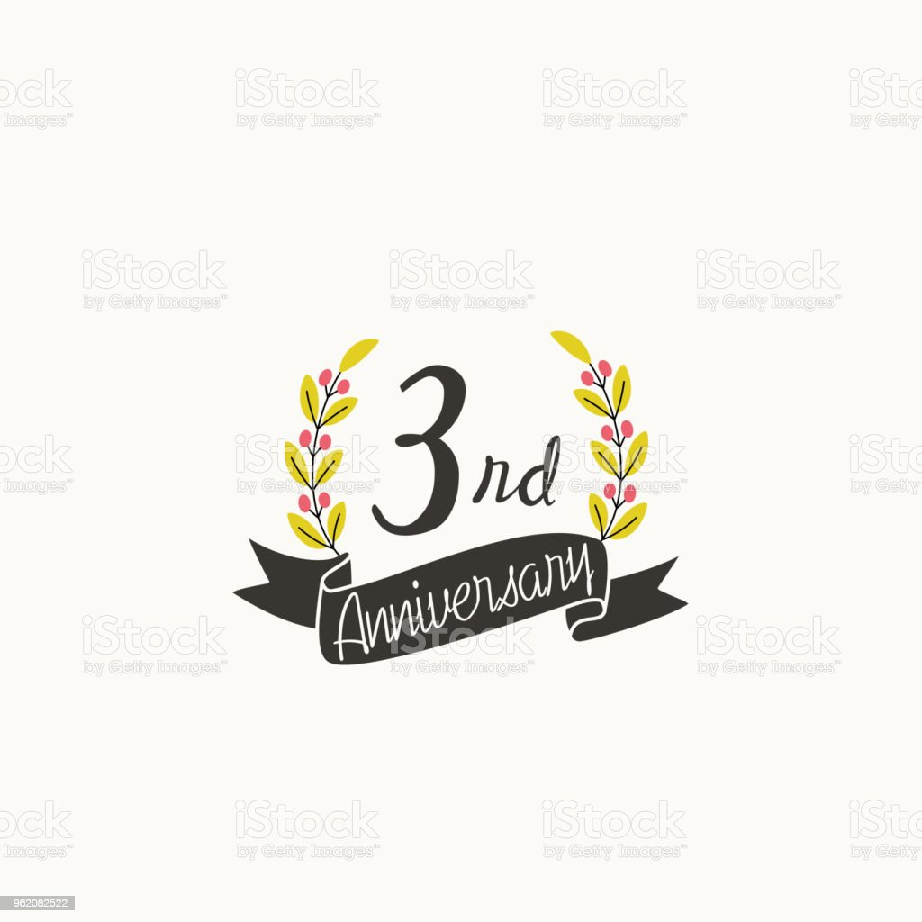 anniversary logo template with ribbon and wreath 3rd stock vector