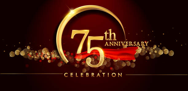 anniversary logo with golden ring, confetti and red ribbon isolated on elegant black background. vector art illustration
