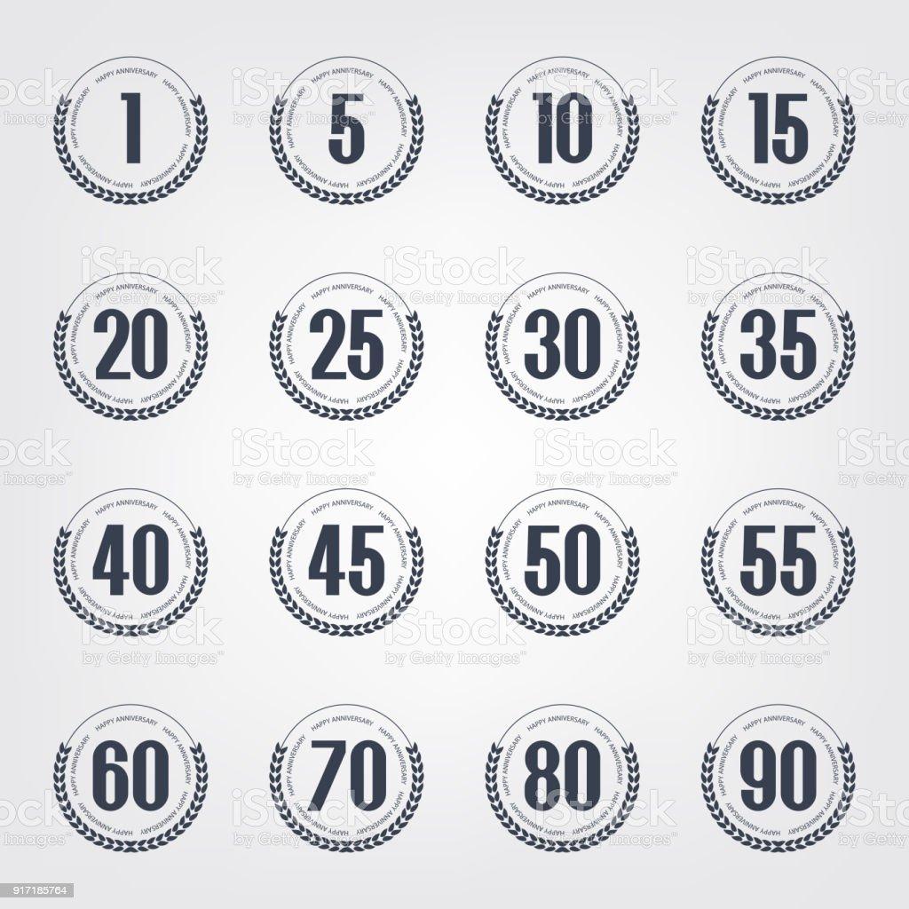 Jubiläumslogo-Sammlung. 1., 5., 10., 15., 20., 25., 30., 35., 40., 45., 50., 55., 60., 70., 80., 90. Jahr Feier Logos. – Vektorgrafik