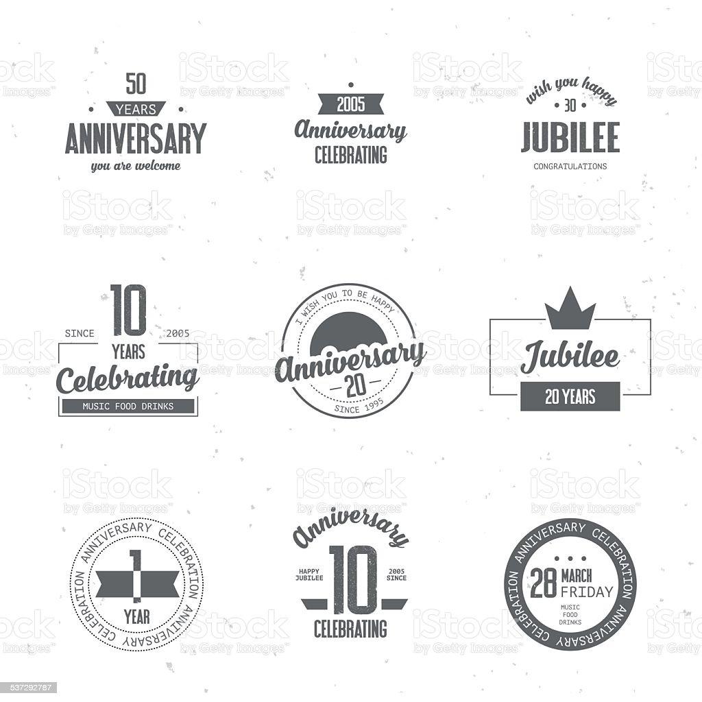Jubiläums-logos set. – Vektorgrafik