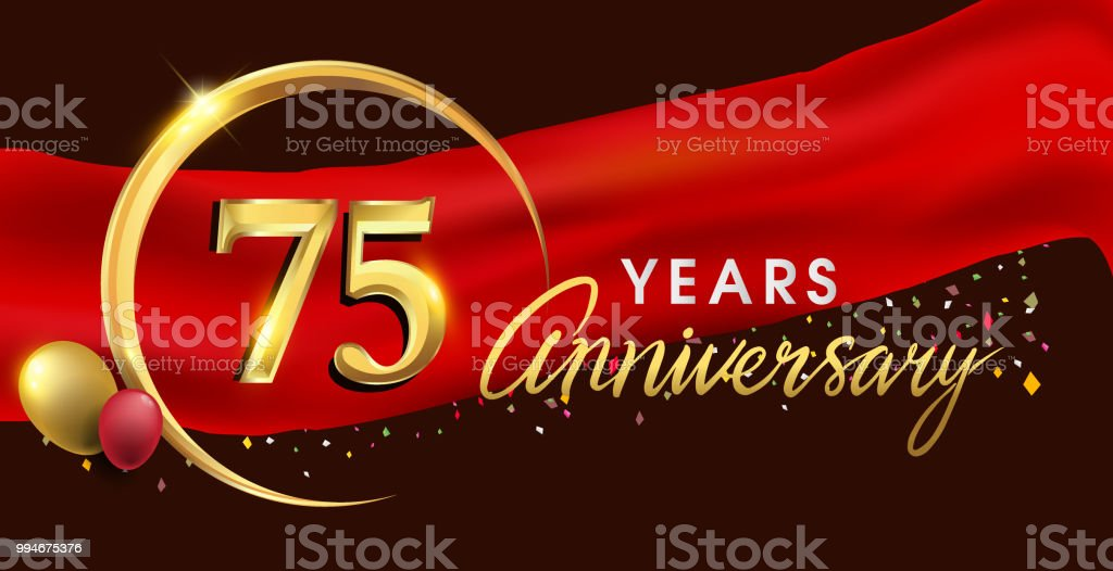 anniversary logotype with golden ring isolated on red ribbon elegant background vector art illustration