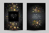 Anniversary luxury backgrounds with gold stars decoration. Posters with vertical border