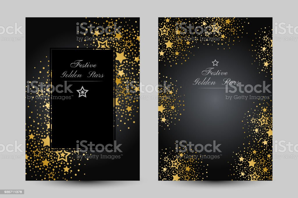 Anniversary luxury backgrounds with gold stars decoration. vector art illustration