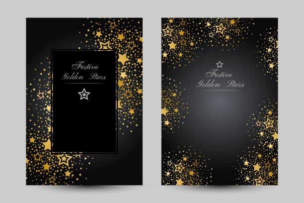 Anniversary luxury backgrounds with gold stars decoration. Anniversary luxury backgrounds with gold stars decoration. Vertical posters with decorative elements anniversary borders stock illustrations