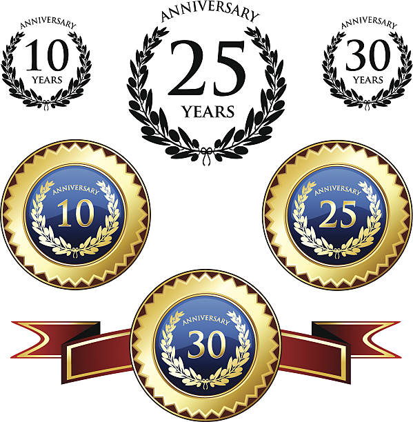 Anniversary Medals And Seals Anniversary medals and seals with laurels. 20 29 years stock illustrations