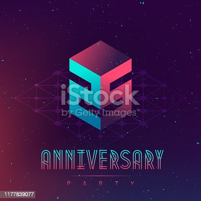 25 Anniversary night party - Electronic music fest and electro space poster. Abstract gradients music background. Club party invitation flyer with number Twenty five.