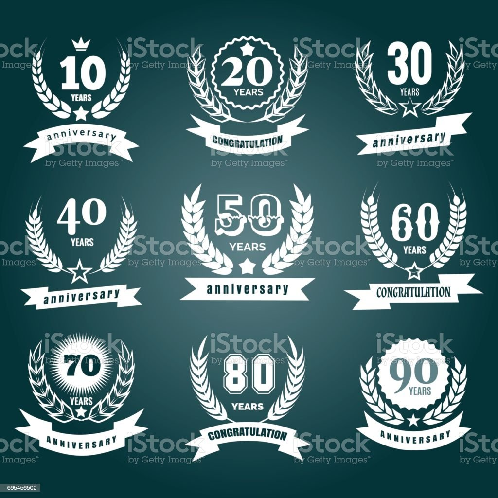 Anniversary numbers design vector art illustration
