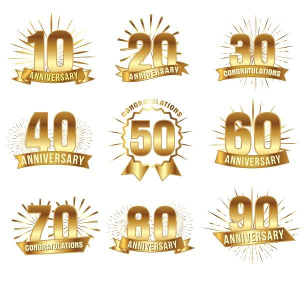 Anniversary numbers in gold vector art illustration