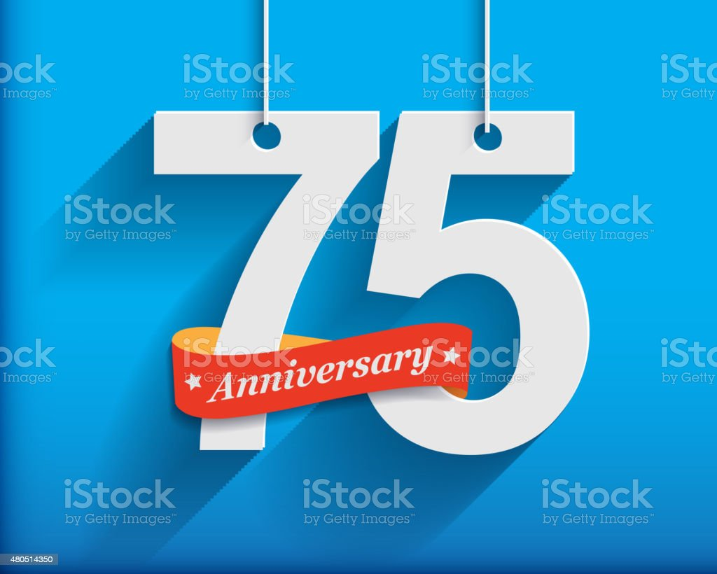 75 Anniversary numbers with ribbon. Flat origami style with long vector art illustration