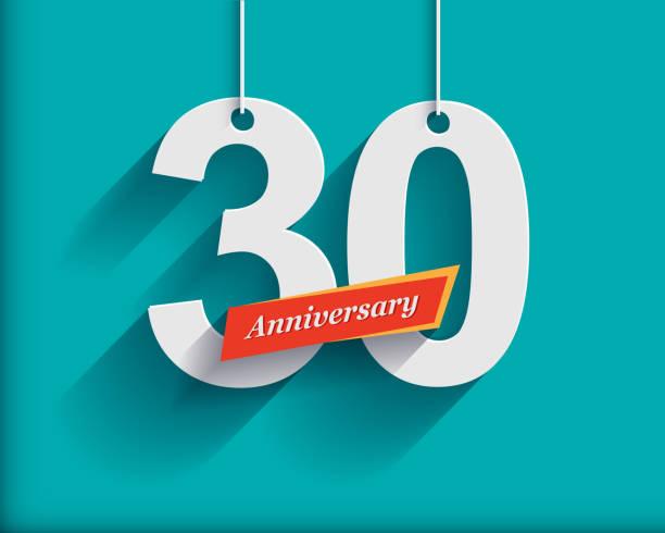 bildbanksillustrationer, clip art samt tecknat material och ikoner med 30 anniversary numbers with ribbon. flat origami style with long - nummer 30