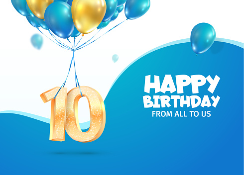 Anniversary of 10 th years birthday vector illustration. Tenth jubilee celebration. Number ten flying on balloons on light background
