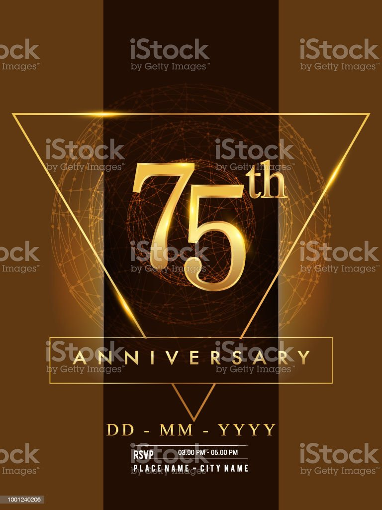 Anniversary poster design on golden and elegant background vector art illustration