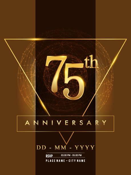 Anniversary poster design on golden and elegant background vector art illustration