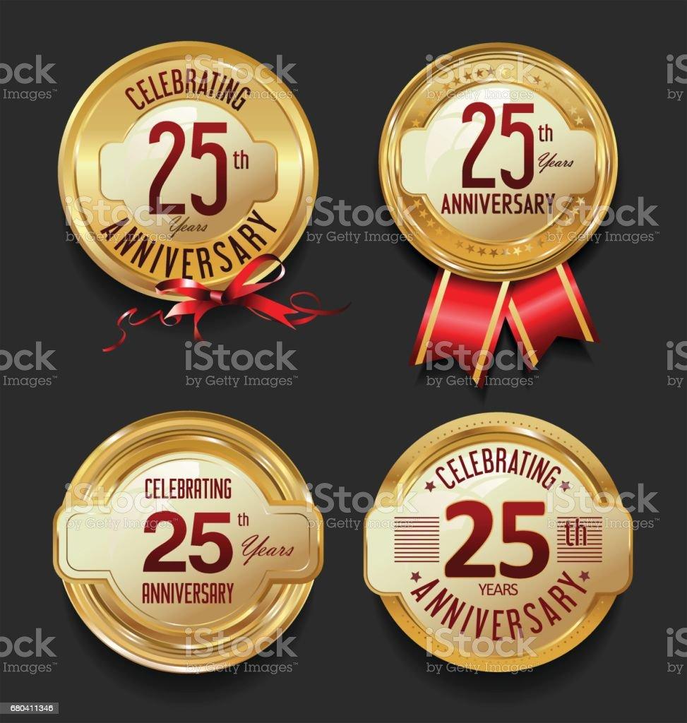 Retro-goldenen Etiketten Jubiläumskollektion – Vektorgrafik