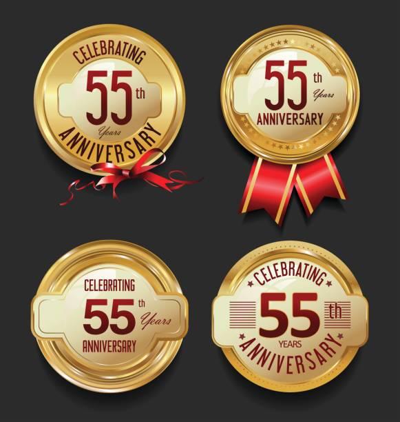 bildbanksillustrationer, clip art samt tecknat material och ikoner med retro gyllene etiketter jubileumskollektion - 55 59 år