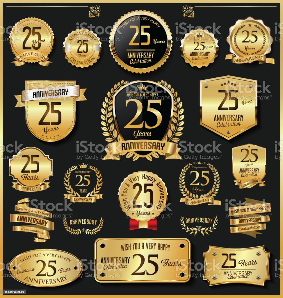 Anniversary retro vintage golden badges and labels vector vector art illustration