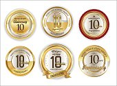 Anniversary retro vintage golden badges collection 10 years