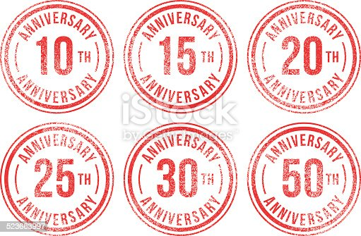 Anniversary (10th, 15th, 20th, 25th, 30th, 50th) rubber stamps.