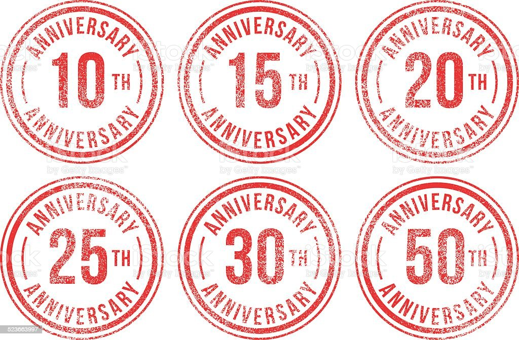 Anniversary rubber stamps vector art illustration