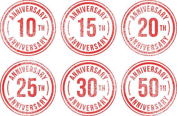 bildbanksillustrationer, clip art samt tecknat material och ikoner med anniversary rubber stamps - 25 29 år