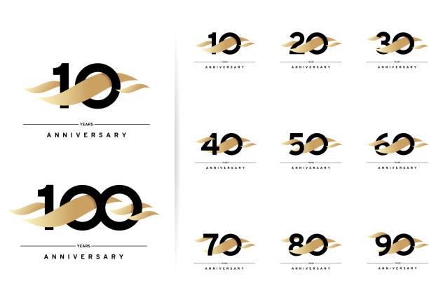 ilustraciones, imágenes clip art, dibujos animados e iconos de stock de conjunto de aniversario. 10, 20, 30, 40, 50, 60, 70, 80, 90, 100 años. diseño moderno y sencillo con elementos dorados - anniversary