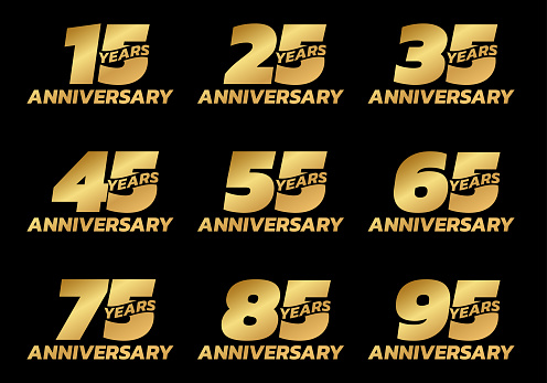 Anniversary set. Birthday badge or logo collection with 15, 25, 35, 45, 55, 65, 75, 85, 95 years celebrating. Vector illustration.