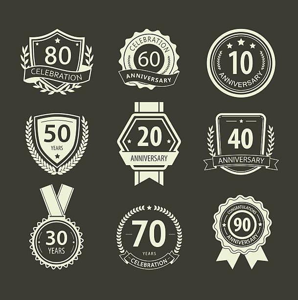 bildbanksillustrationer, clip art samt tecknat material och ikoner med anniversary sign collection, retro design - 50 54 år