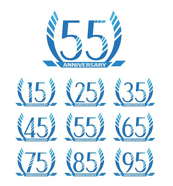 bildbanksillustrationer, clip art samt tecknat material och ikoner med anniversary sign collection - 55 59 år