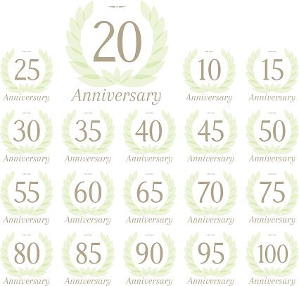 Anniversary Sign Collection-vektorgrafik och fler bilder på 14-15 år