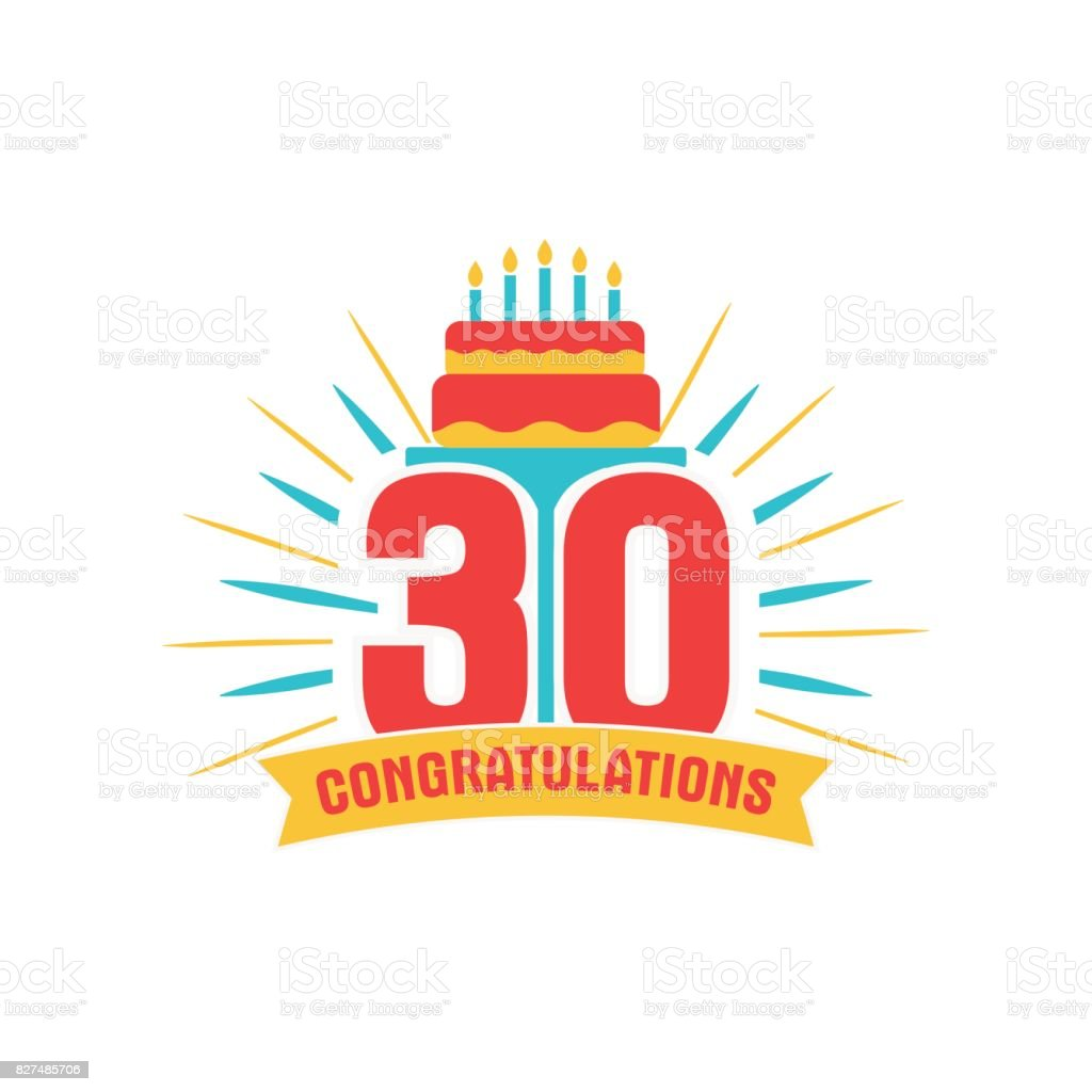 Anniversary thirty years number vector art illustration