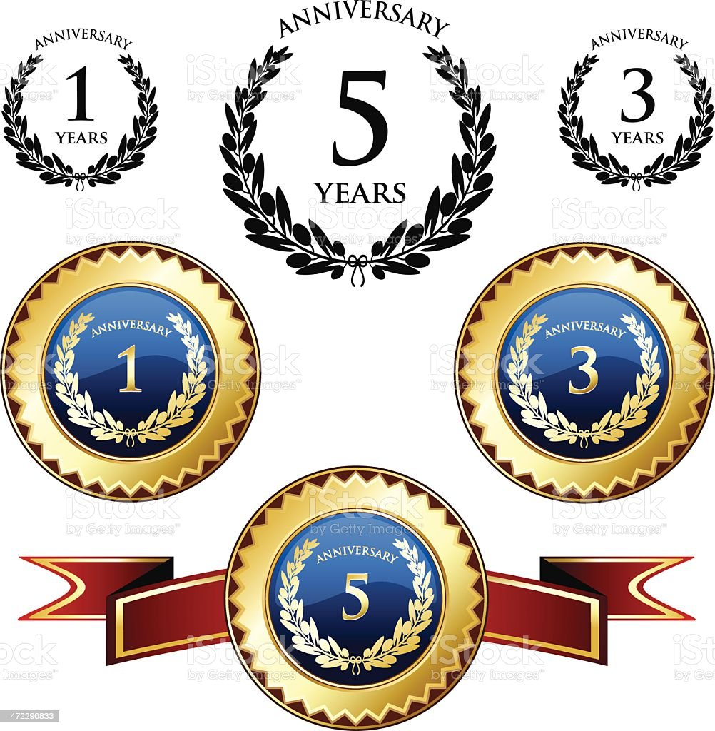 Anniversary Trophies And Seals vector art illustration