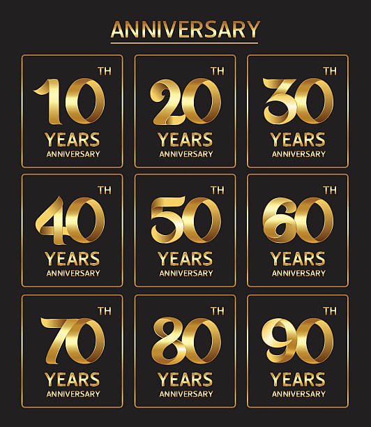 anniversary Vector set of anniversary golden signs 20 24 years stock illustrations