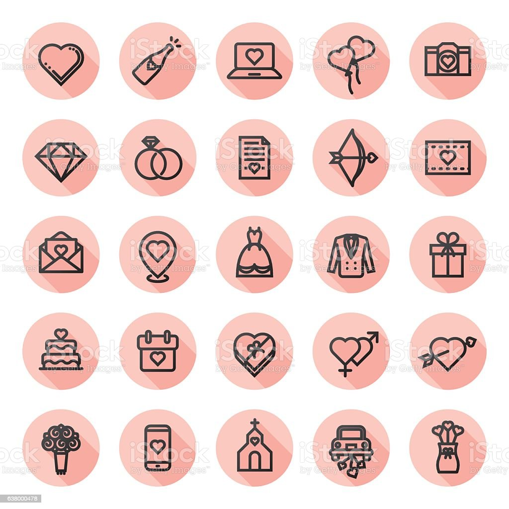 anniversary & wedding icon set vector art illustration