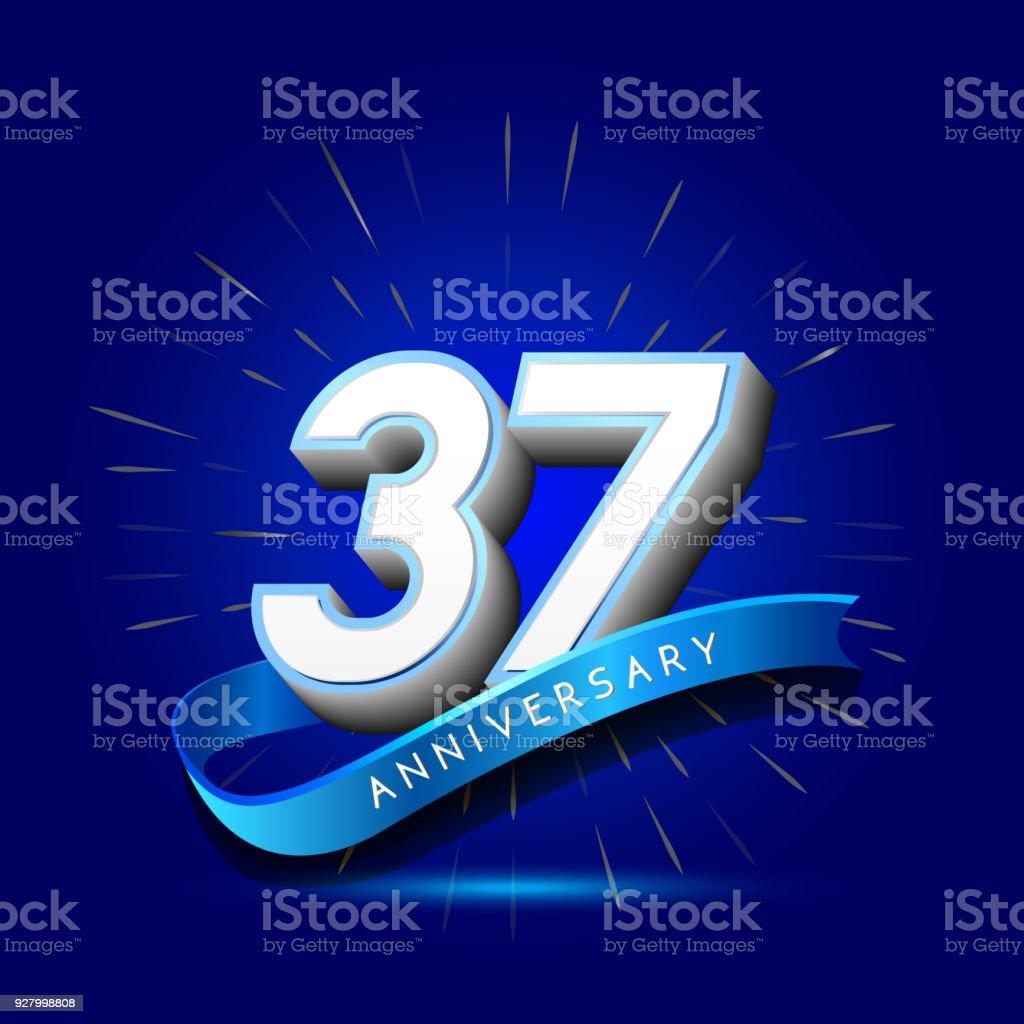 Ilustración de 37 Aniversario Con Cinta Plantilla De Aniversario ...