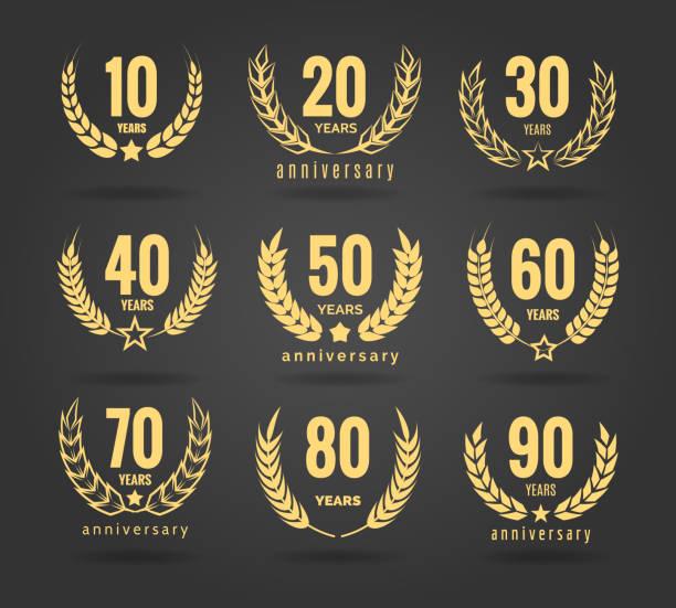 bildbanksillustrationer, clip art samt tecknat material och ikoner med årsdagen krans set - 50 54 år