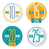 Annivesary Badge Symbols and Decorative Design Elements
