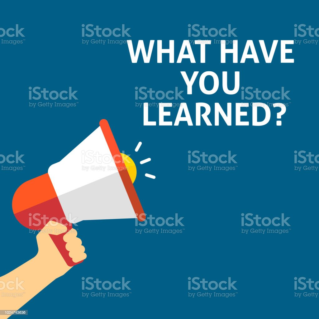 WHAT HAVE YOU LEARNED? Announcement. Hand Holding Megaphone With Speech Bubble vector art illustration
