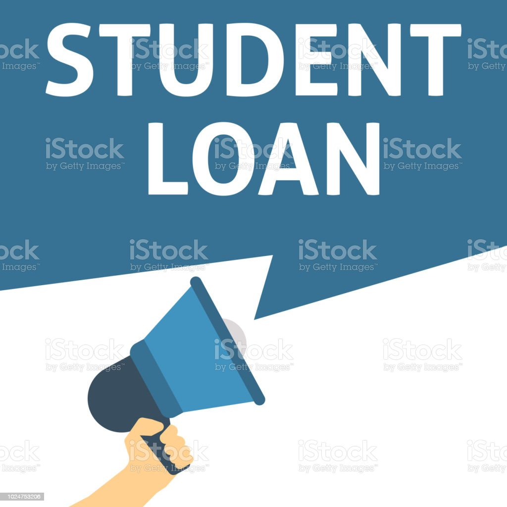 STUDENT LOAN Announcement. Hand Holding Megaphone With Speech Bubble vector art illustration