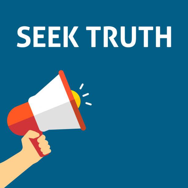 SEEK TRUTH Announcement. Hand Holding Megaphone With Speech Bubble vector art illustration