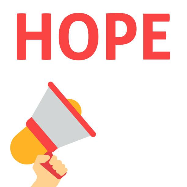 ilustrações de stock, clip art, desenhos animados e ícones de hope announcement. hand holding megaphone with speech bubble - hope