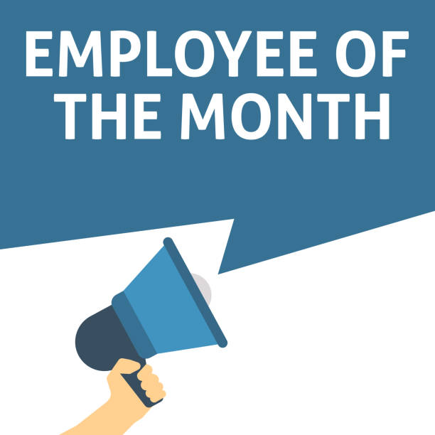 employee of the month announcement hand holding megaphone with