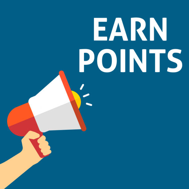 EARN POINTS Announcement. Hand Holding Megaphone With Speech Bubble vector art illustration