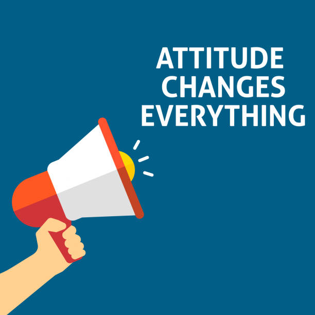 ATTITUDE CHANGES EVERYTHING Announcement. Hand Holding Megaphone With Speech Bubble vector art illustration