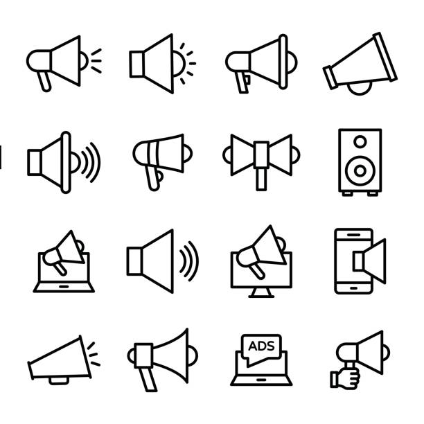 Announcement Line Vector Icons Set New announcement or advertisement ! this line vector icons set composed with loudhailer, bull horn, promote, speaker, advertise, promotion, and speaker, advertisement and announcement line vector icons. conference phone stock illustrations
