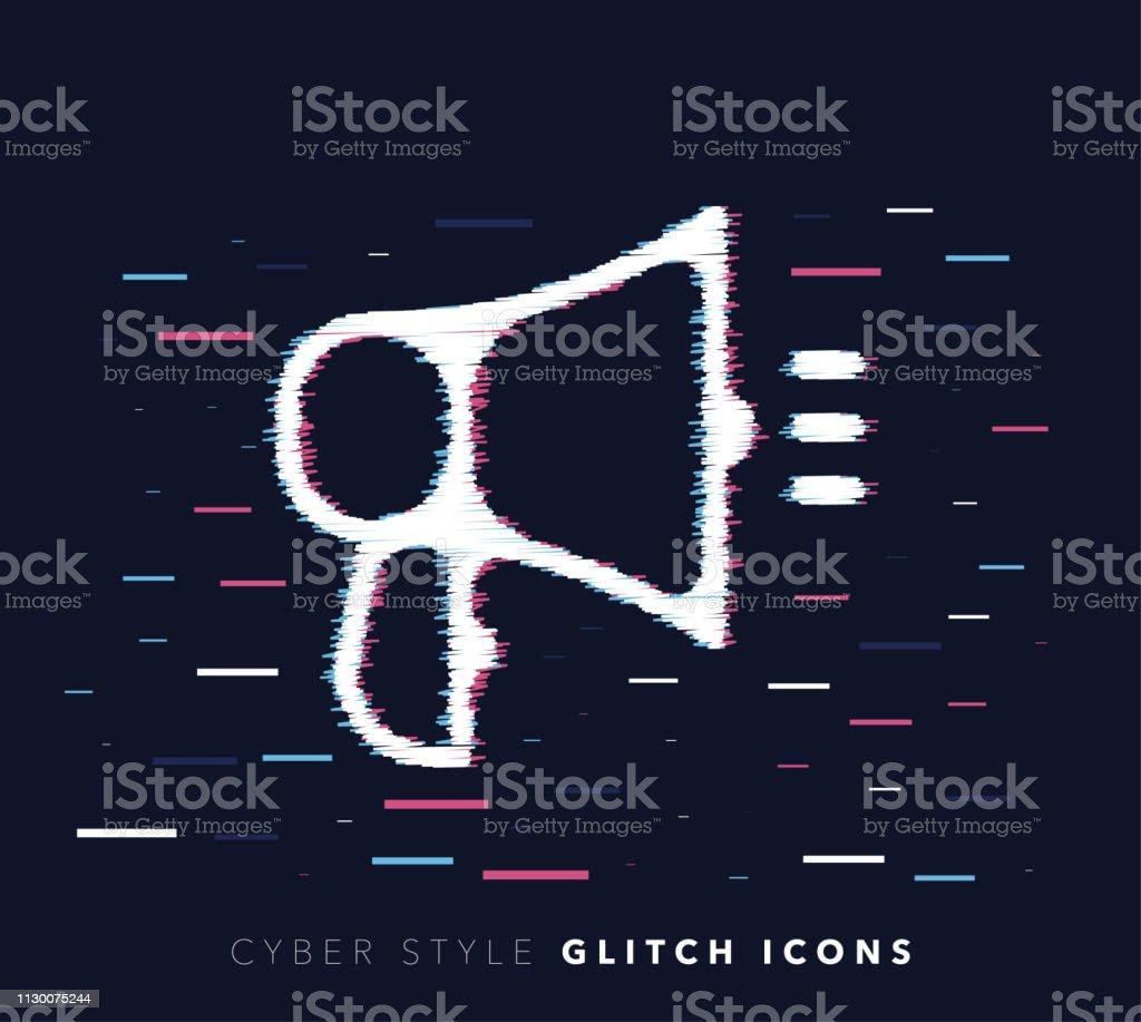 Announcement Message Glitch Effect Vector Icon Illustration - ilustração de arte vetorial
