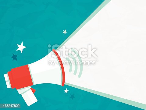 Megaphone announcement message with space for your copy. EPS 10 file. Transparency effects used on highlight elements.